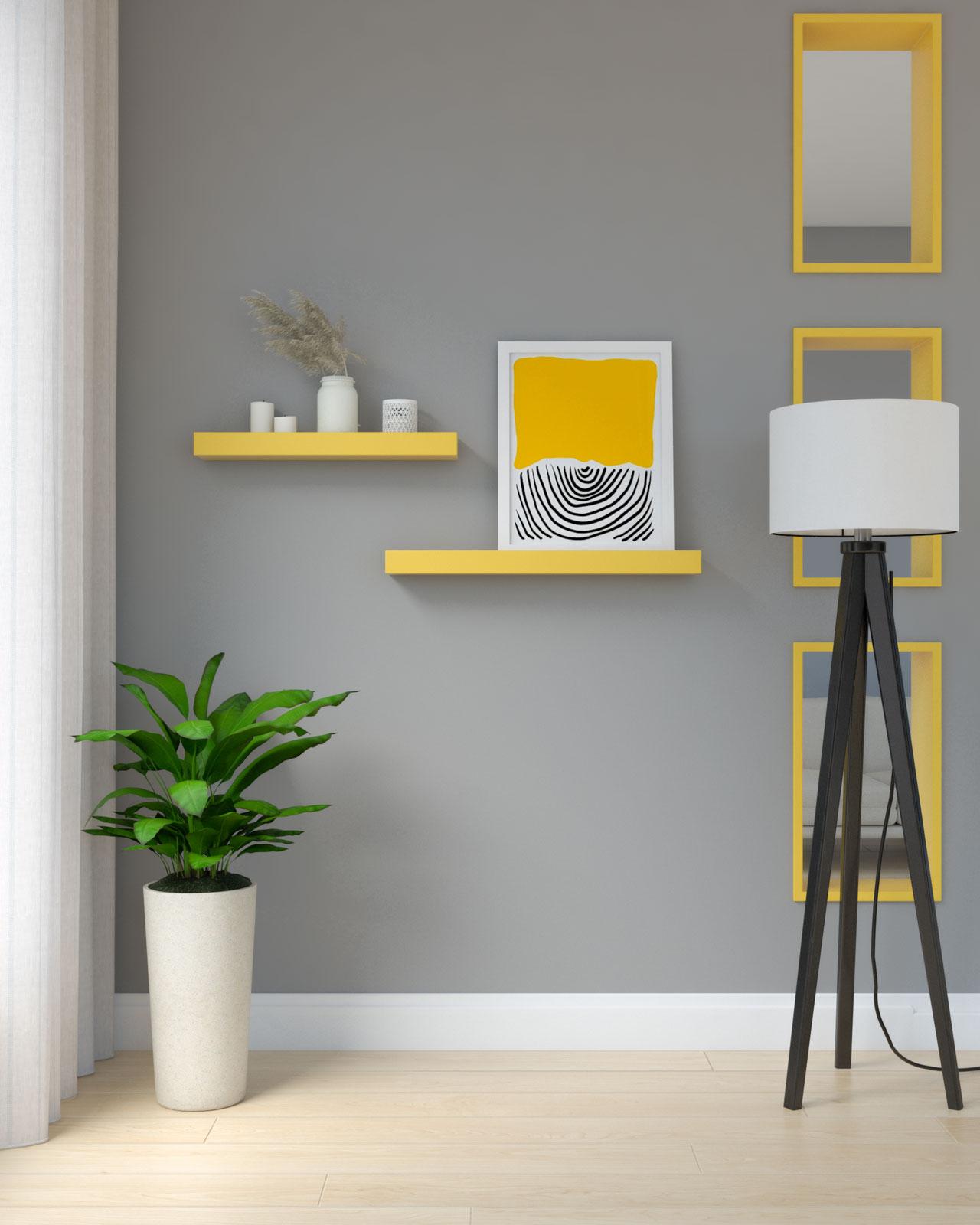 Yellow shelves on gray wall