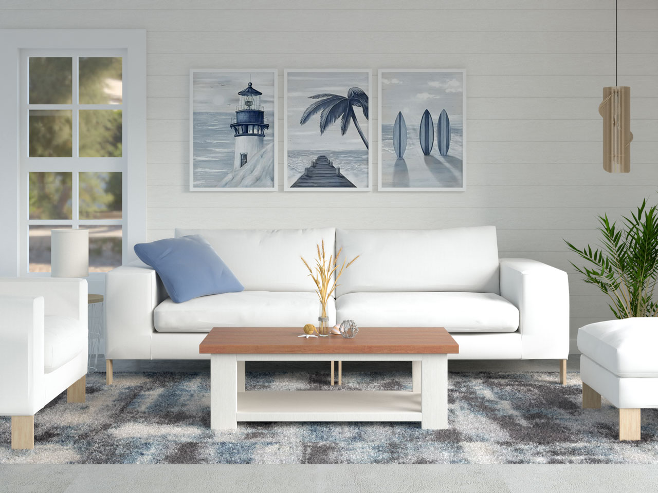 Coastal living room with abstract blue and gray area rug