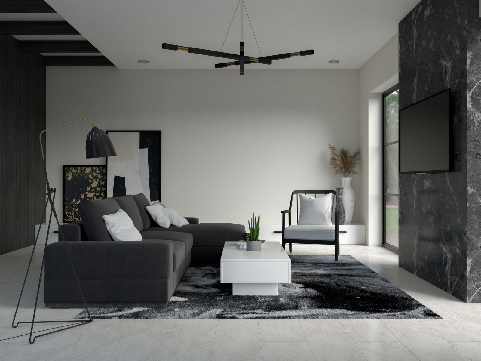 Alabaster walls with black and white furnishings