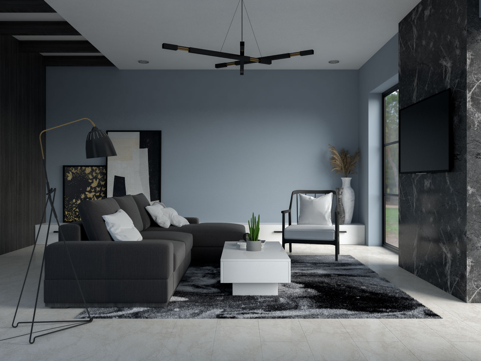 aleutian blue living room walls with black and white furnishings