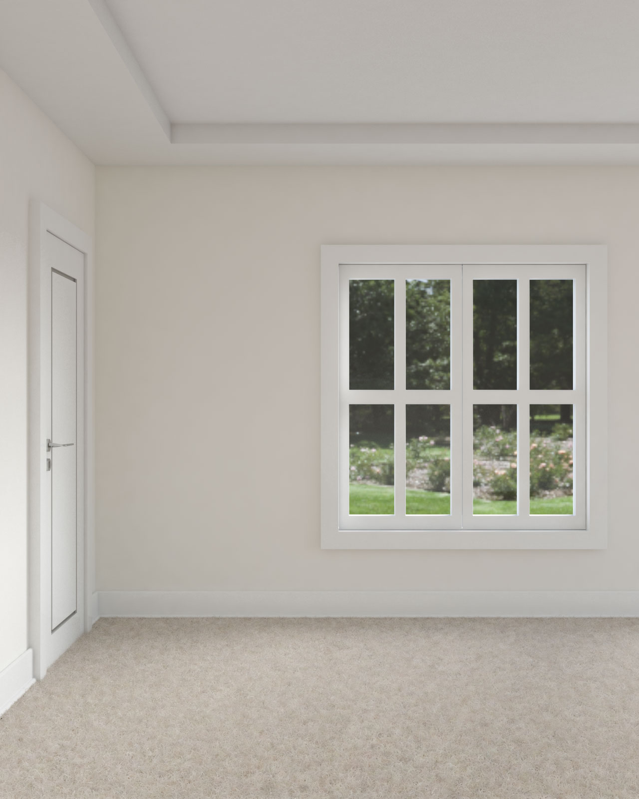 White dove walls with pure white ceiling