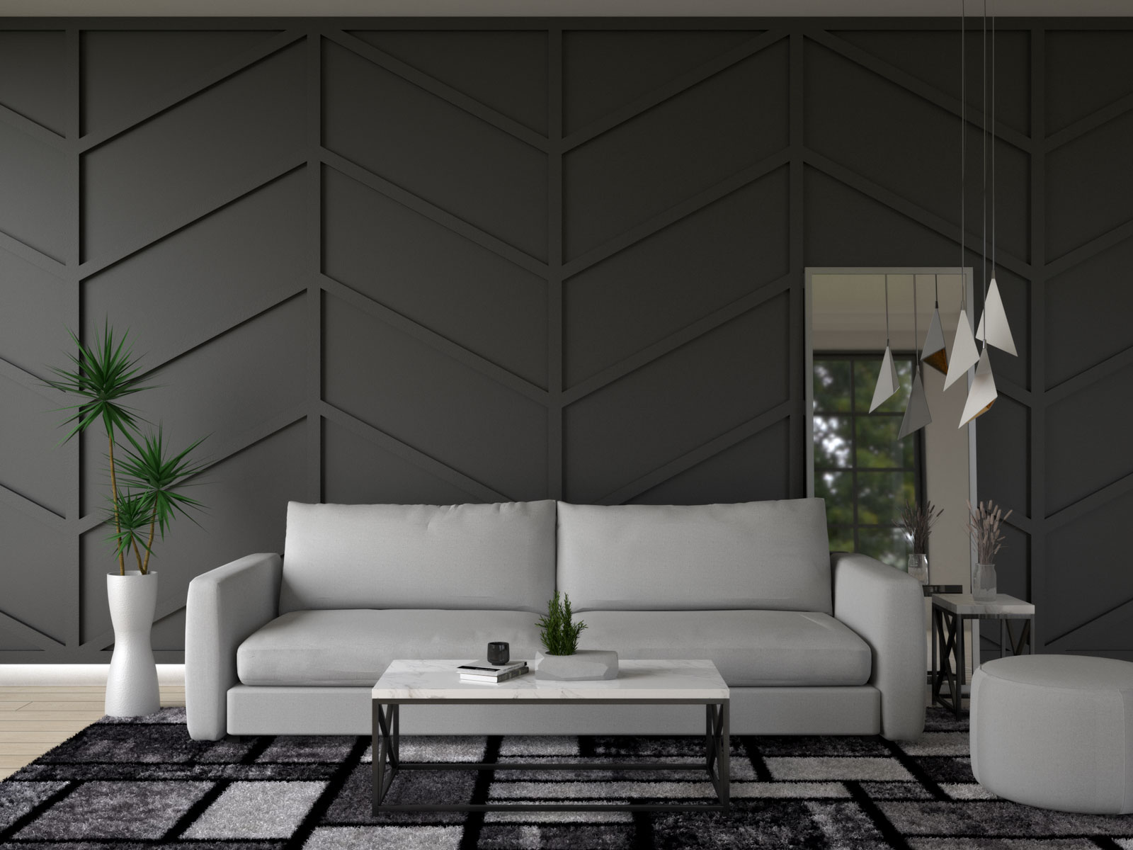 Living room with gray furniture and black wall