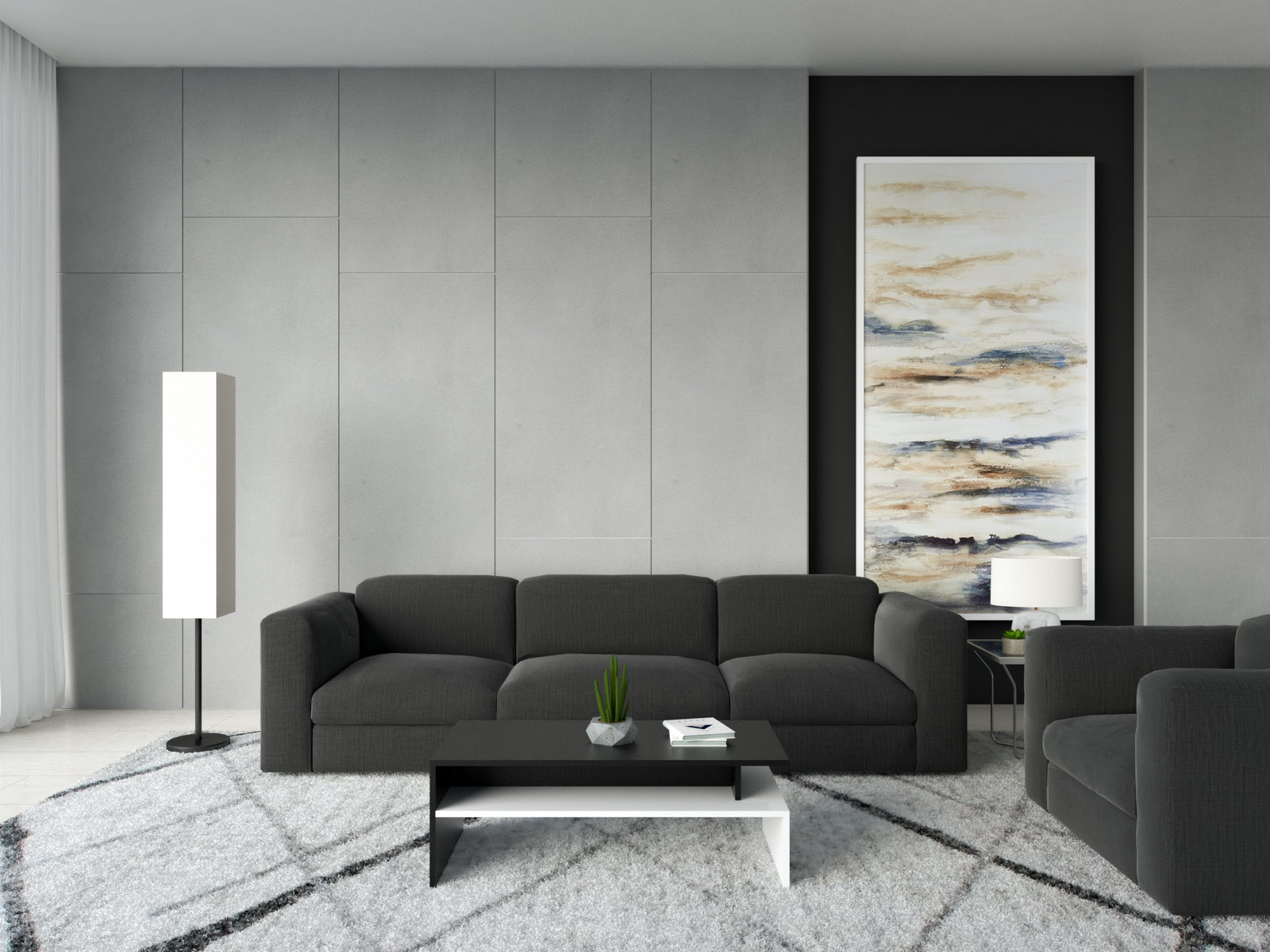 Black and white coffee table with black couch