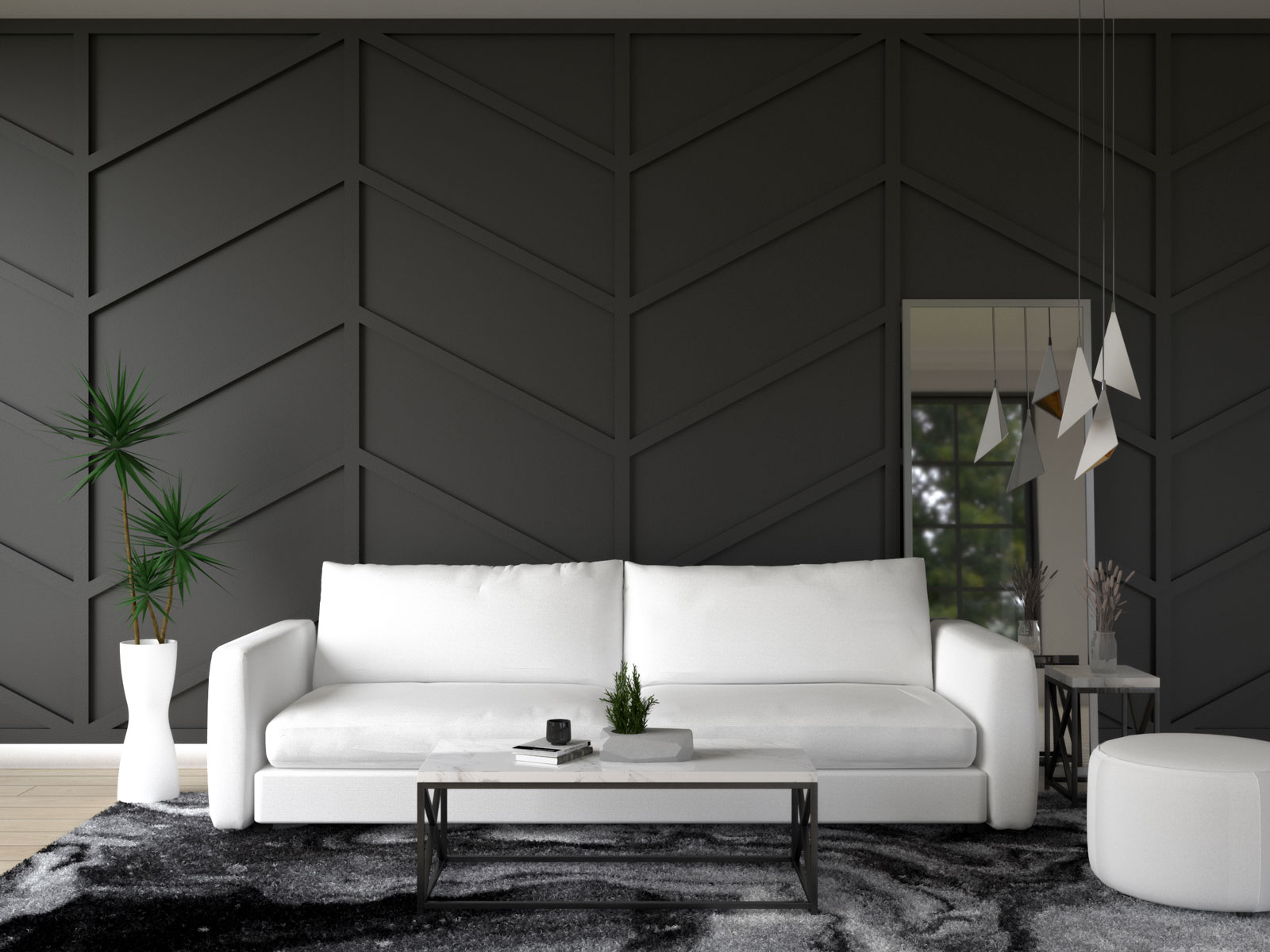 Black wall with white furniture