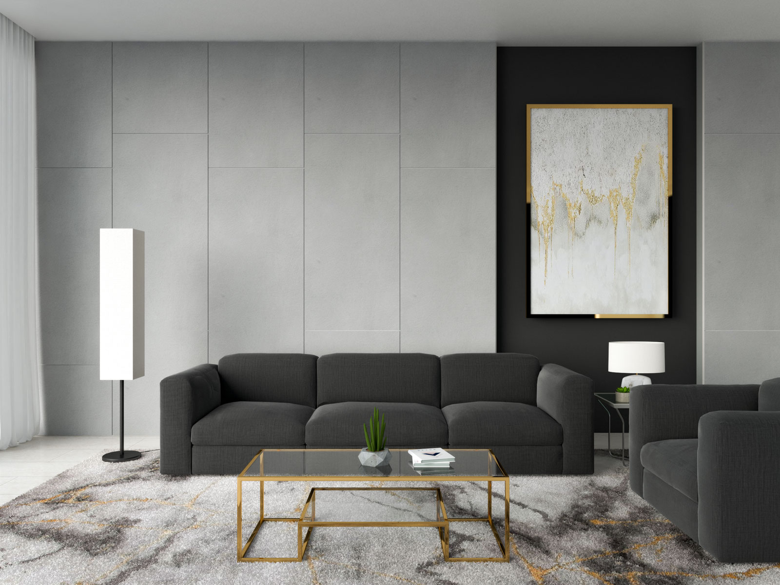 Gold coffee table with black sofa