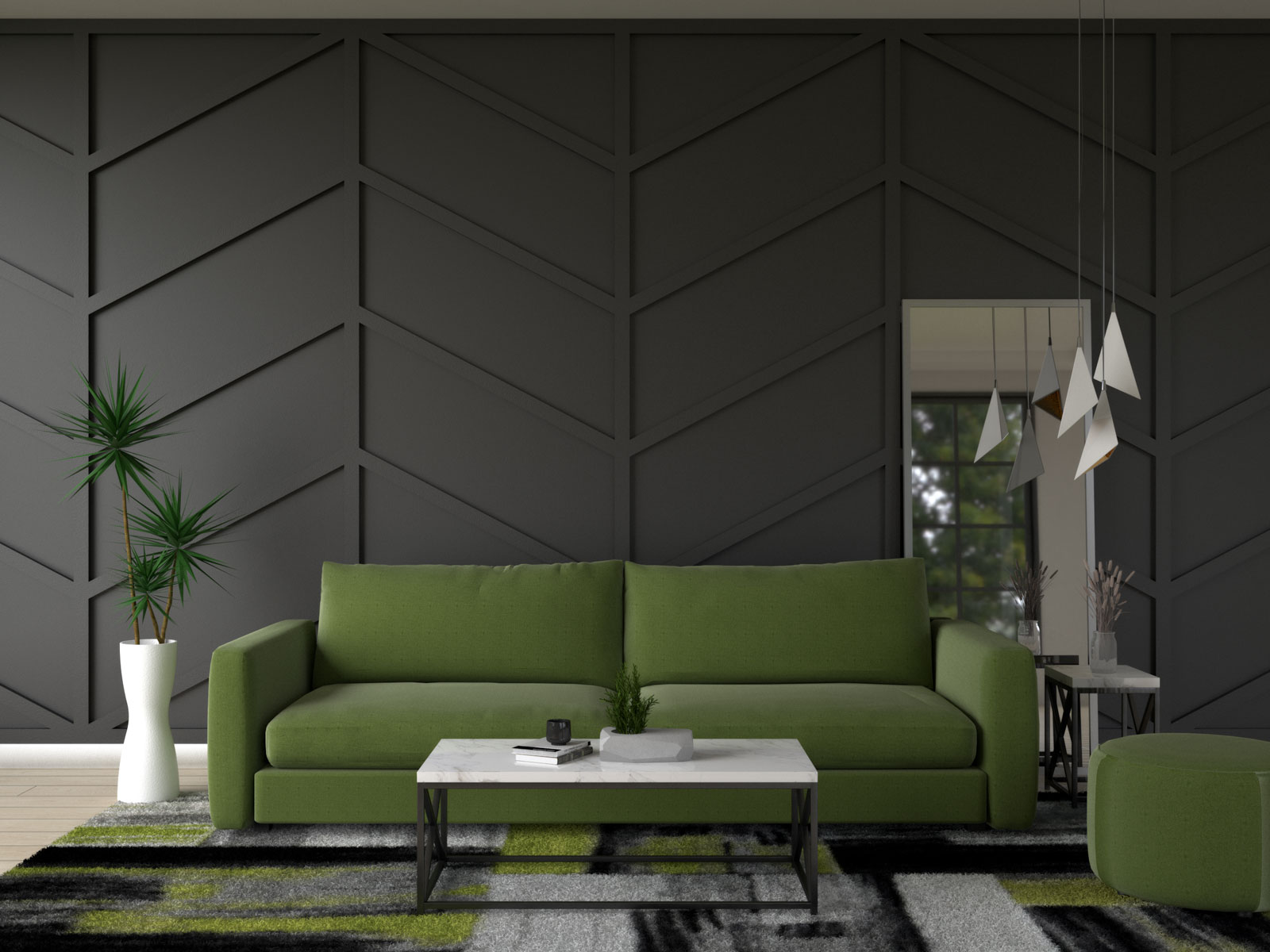Black accent wall with olive green furniture