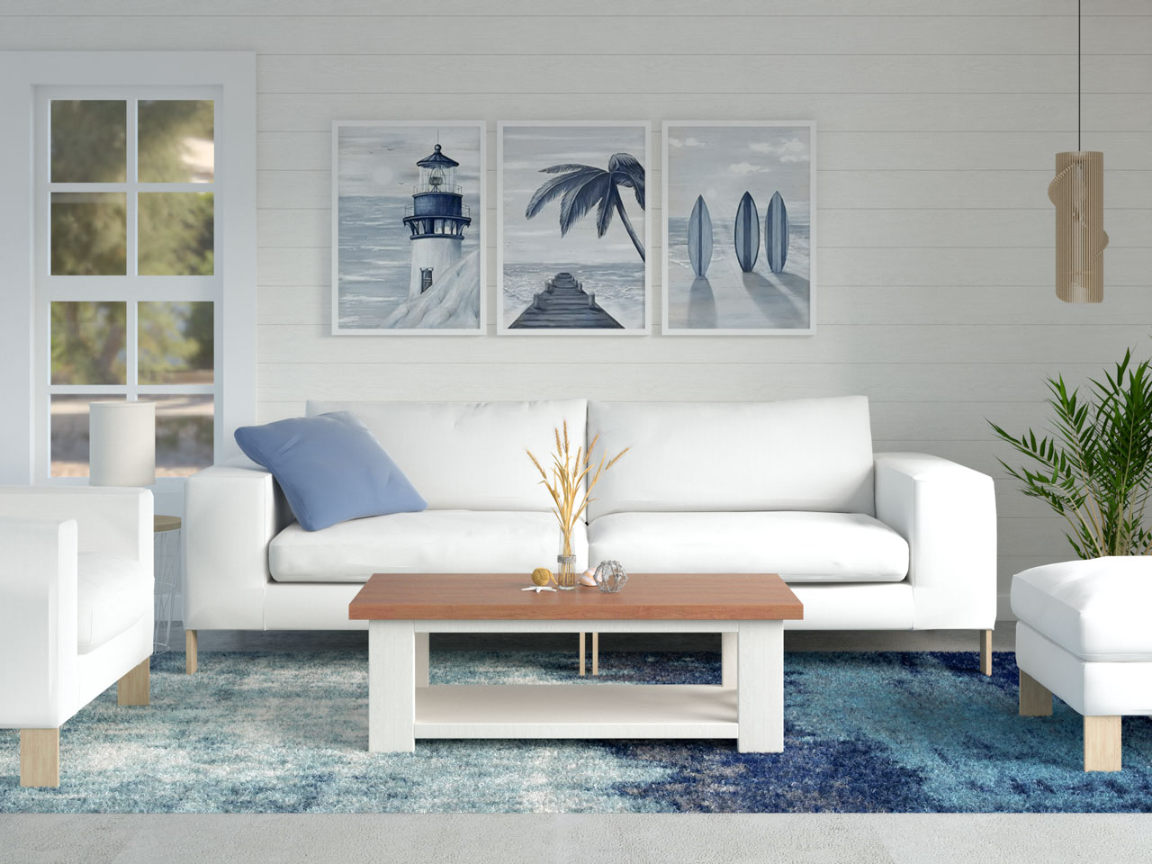 Coastal home with blue wave area rug