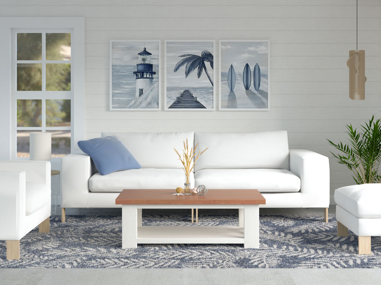 Coastal living room with frond area rug
