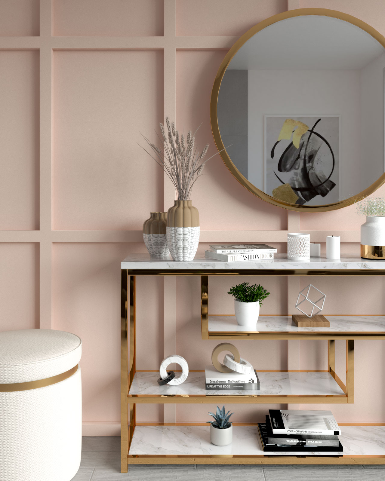 Blush wall with gold decor