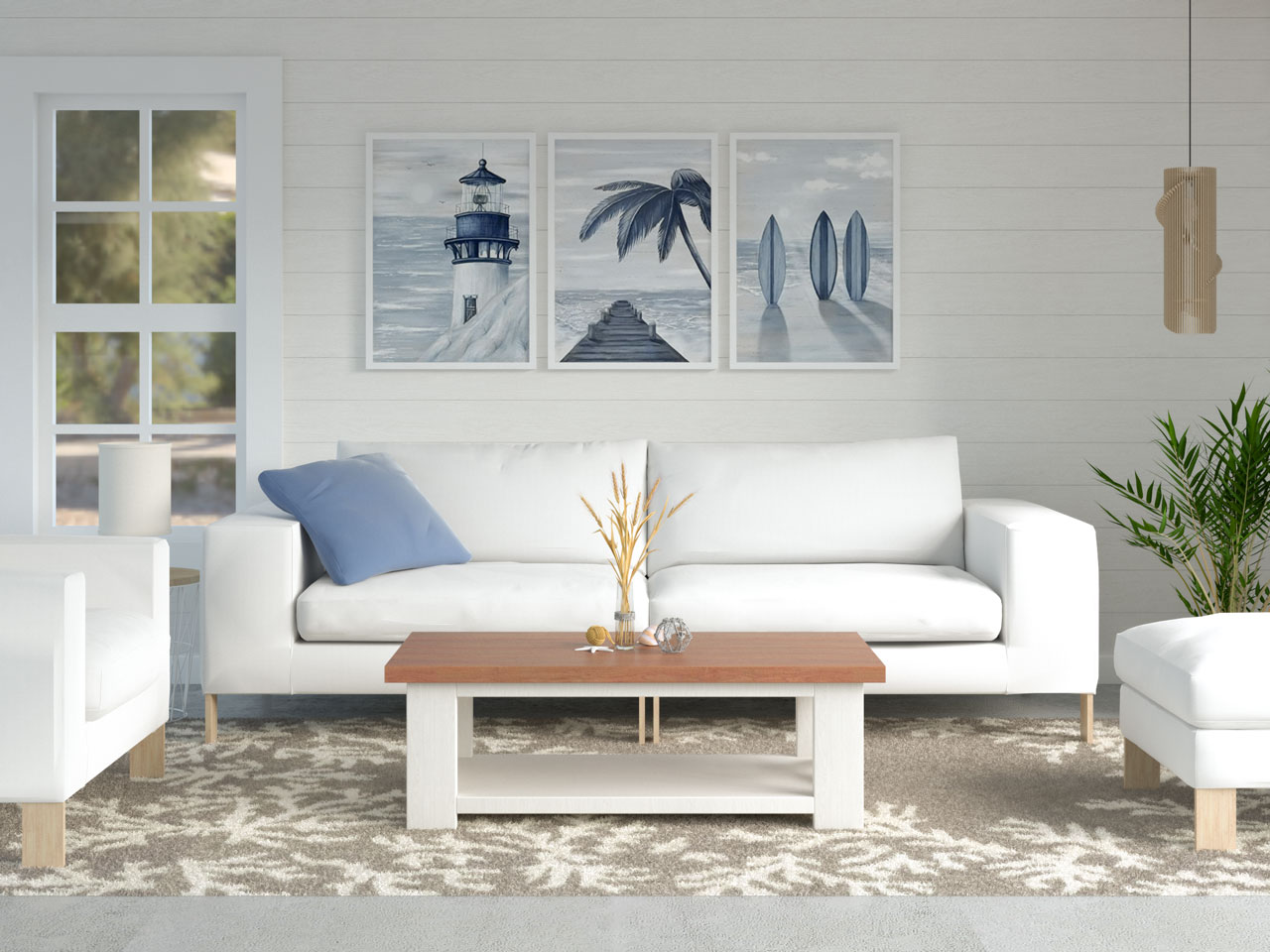 Coastal living space with coral rug