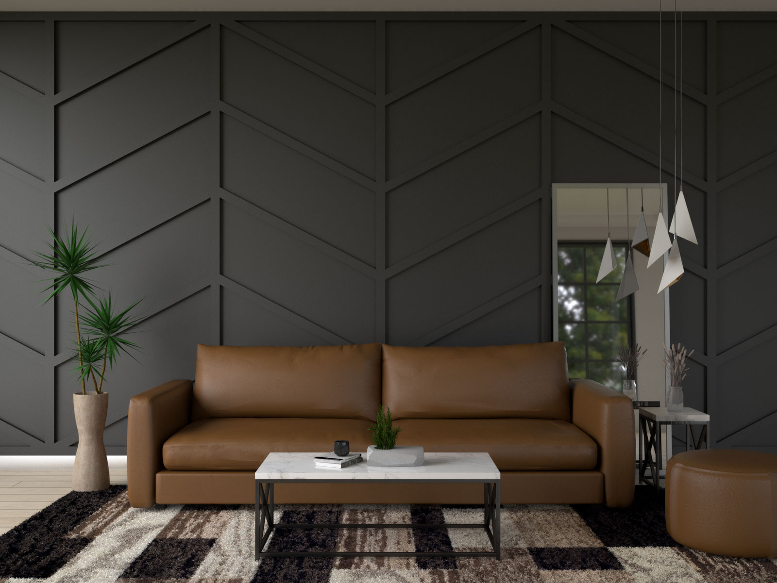 Brown leather furniture with black accent wall