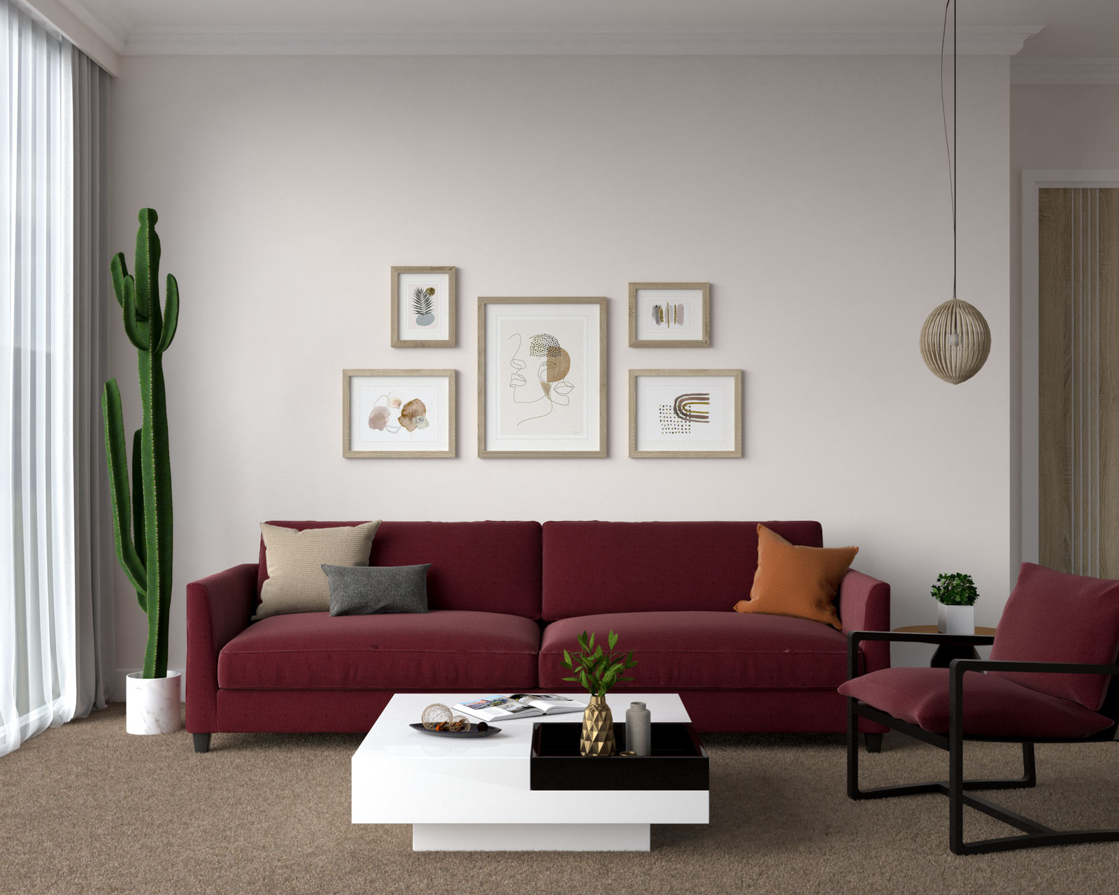 Burgundy couch with brown carpet flooring