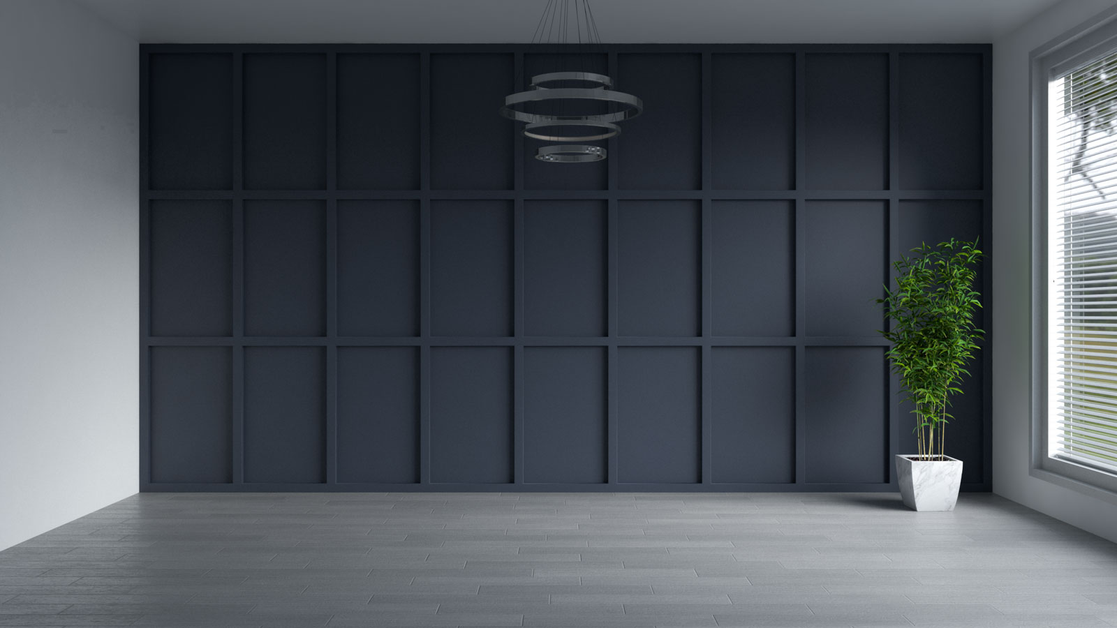 Charcoal blue accent wall