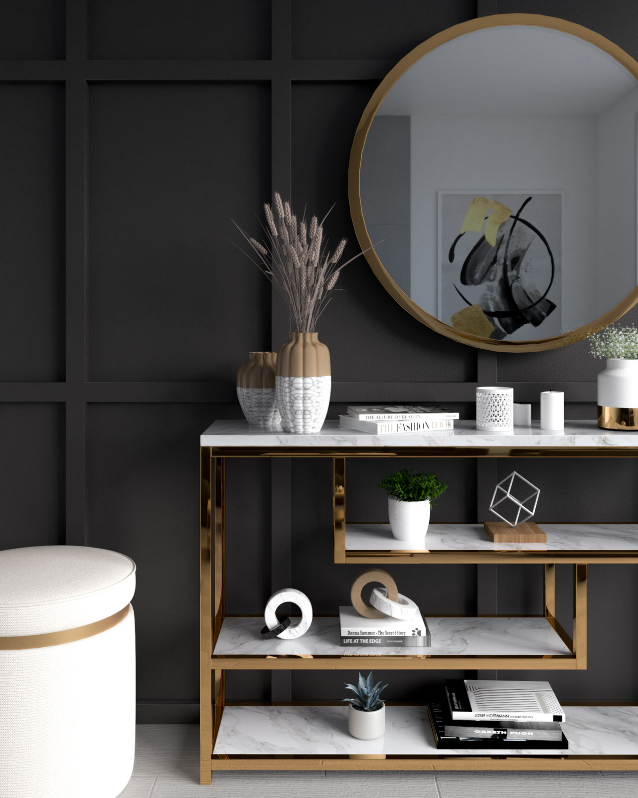 Charcoal accent wall with gold accessories