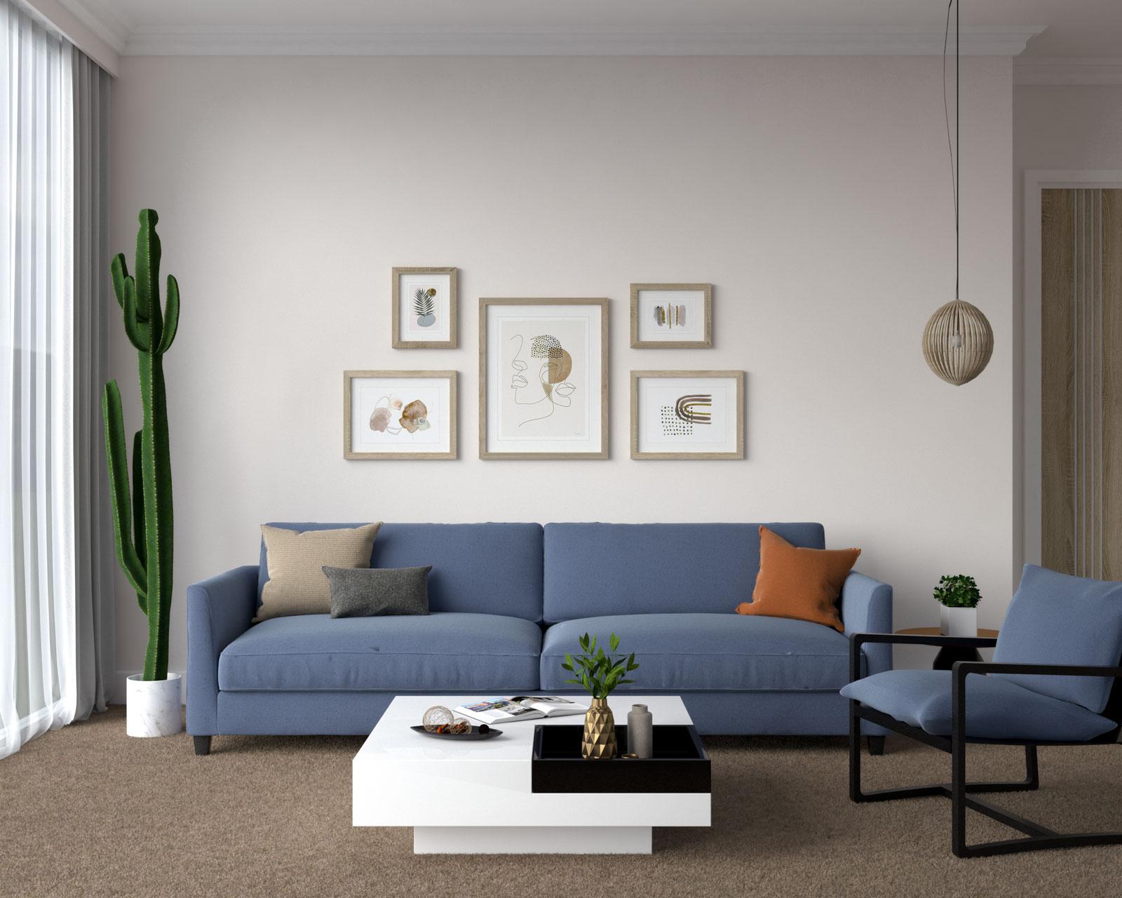 Denim blue couch with dark brown carpet flooring