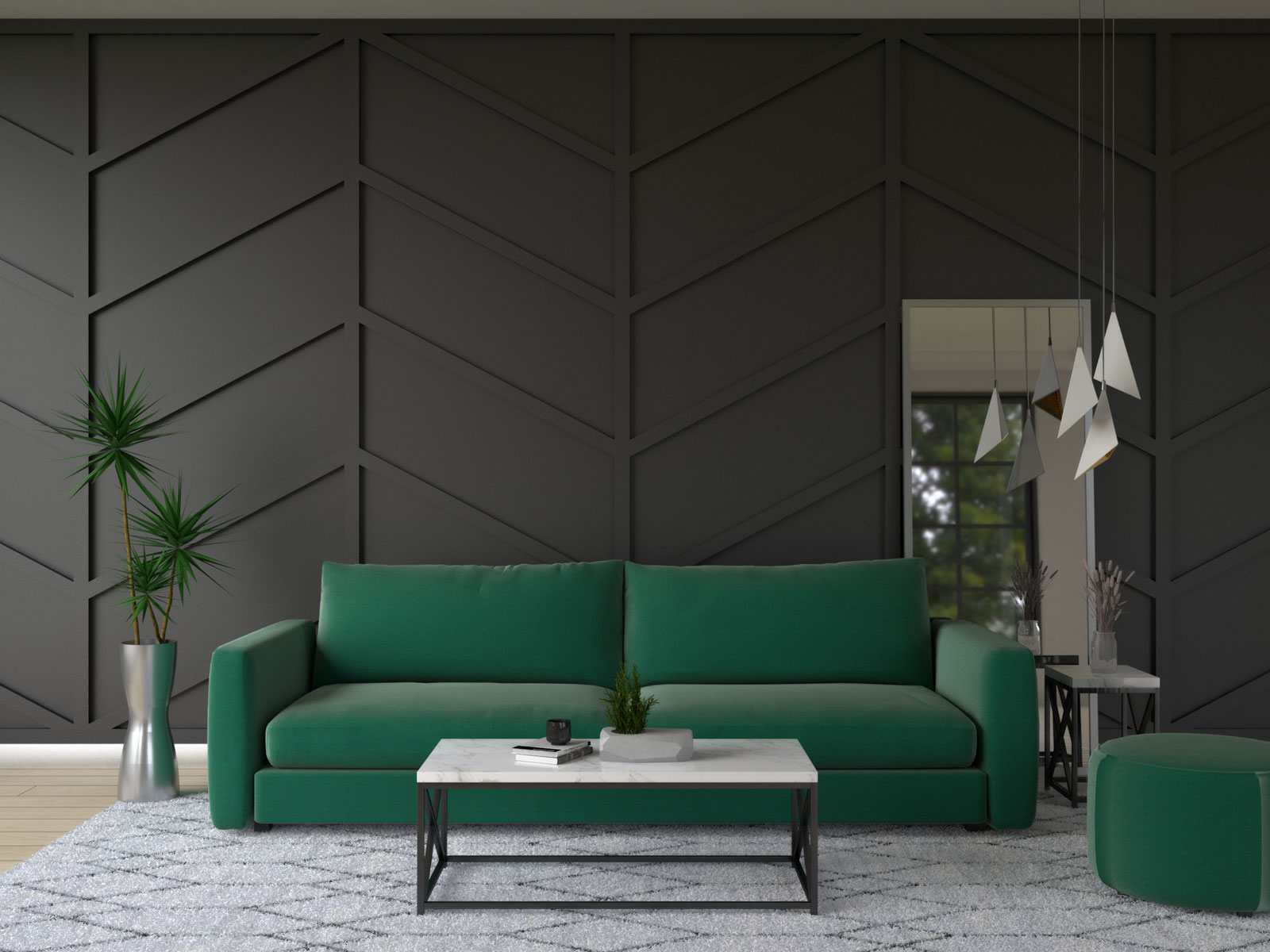 Black accent wall with emerald green furnishings