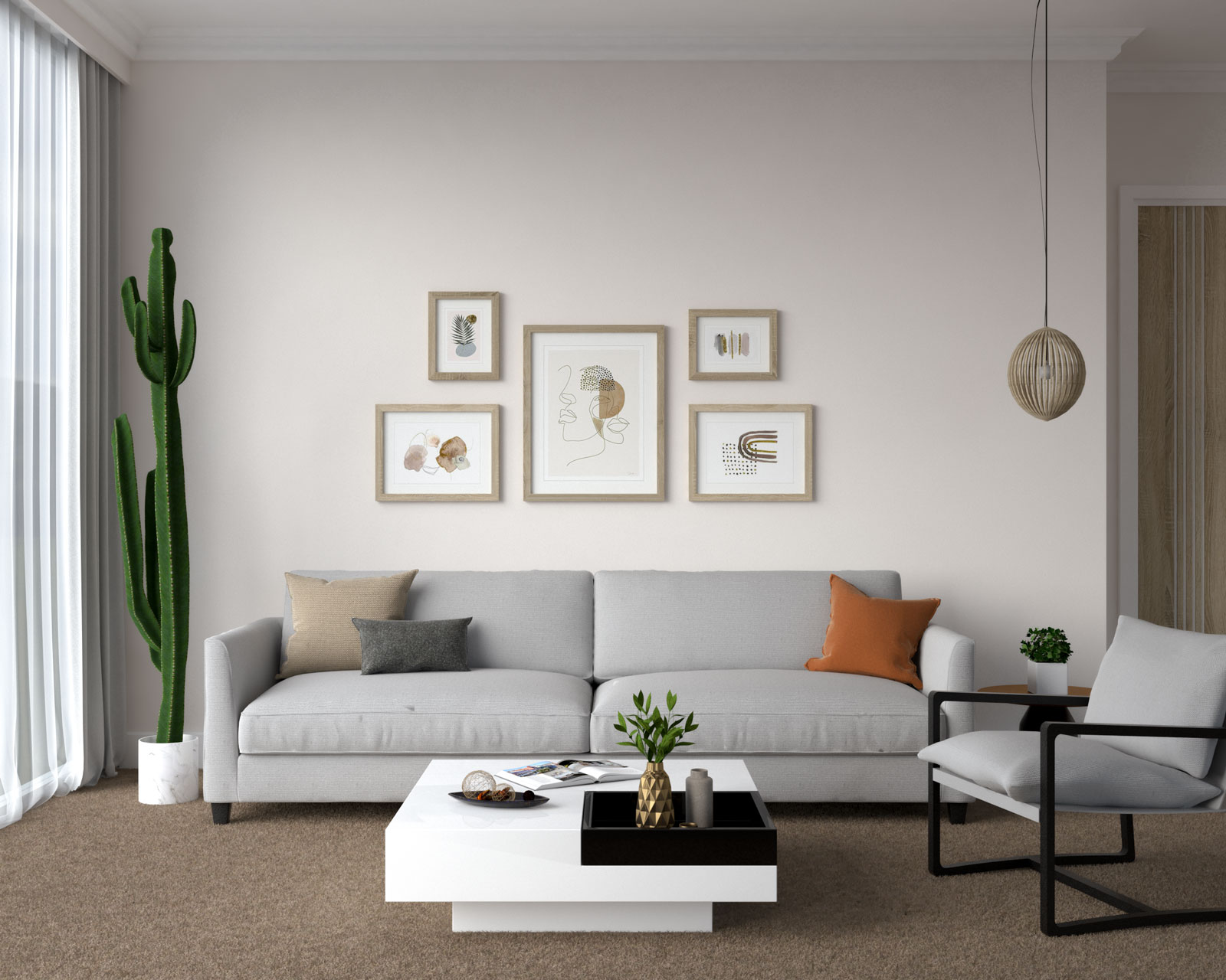 Gray couch and brown carpet flooring