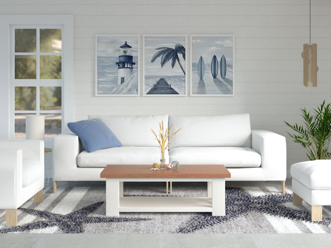 Coastal living room with navy and gray starfish pattern area rug