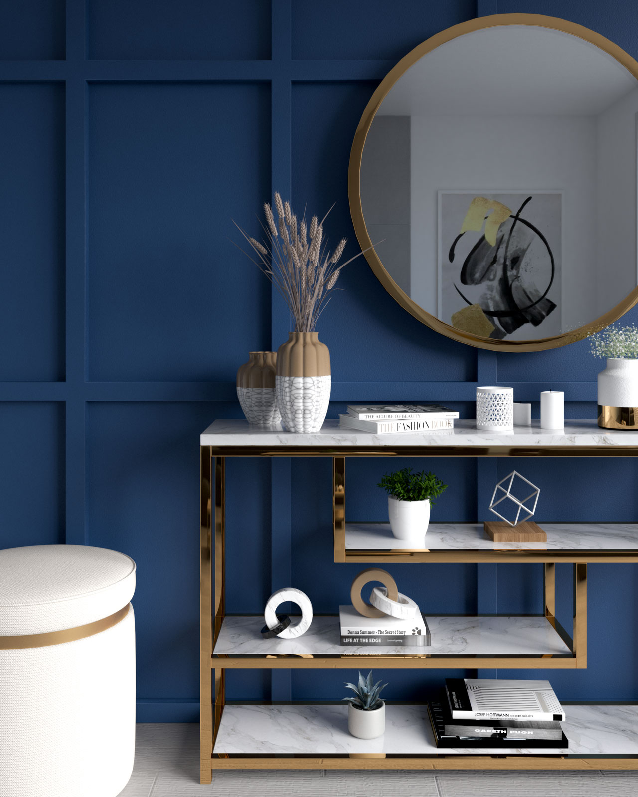 Indigo blue wall with gold accents