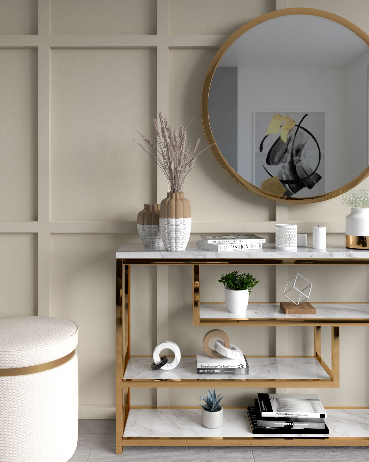 Ivory wall with gold wall decor