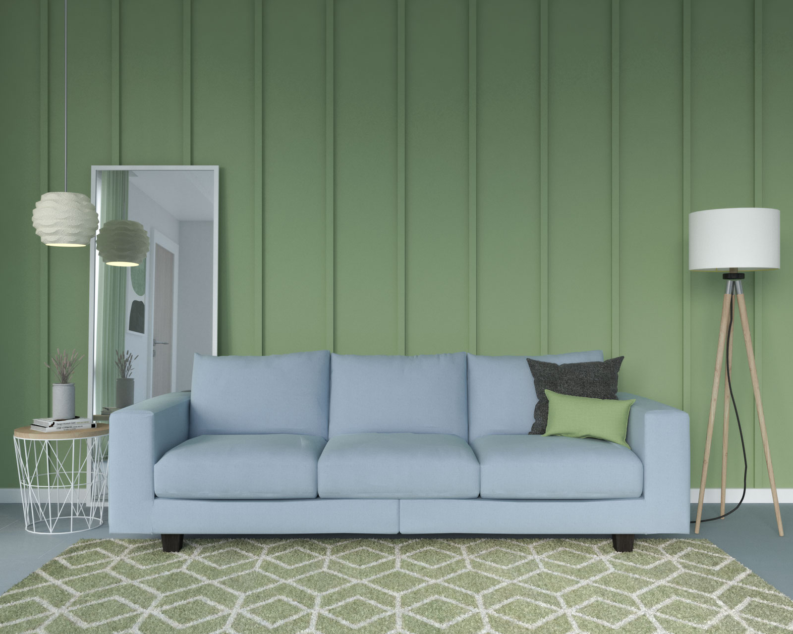 Sage accent wall with light blue couch