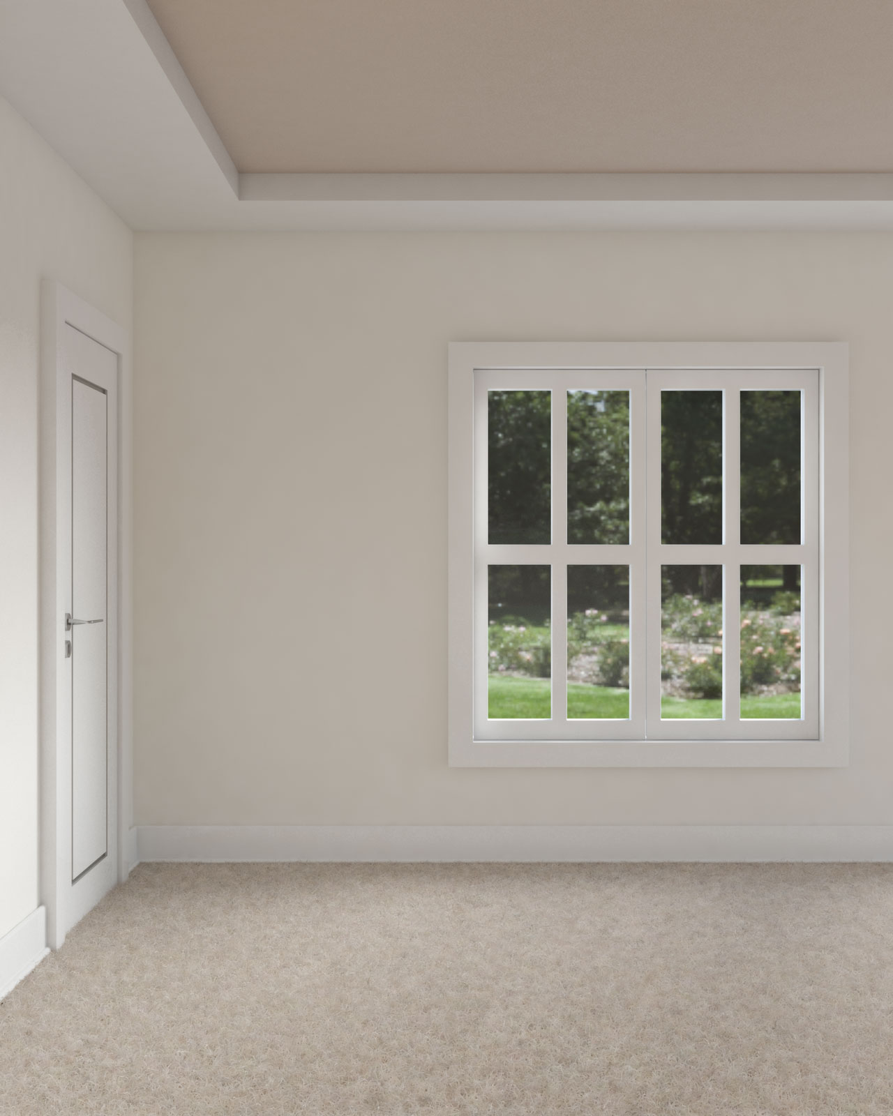 White dove walls with light brown ceiling