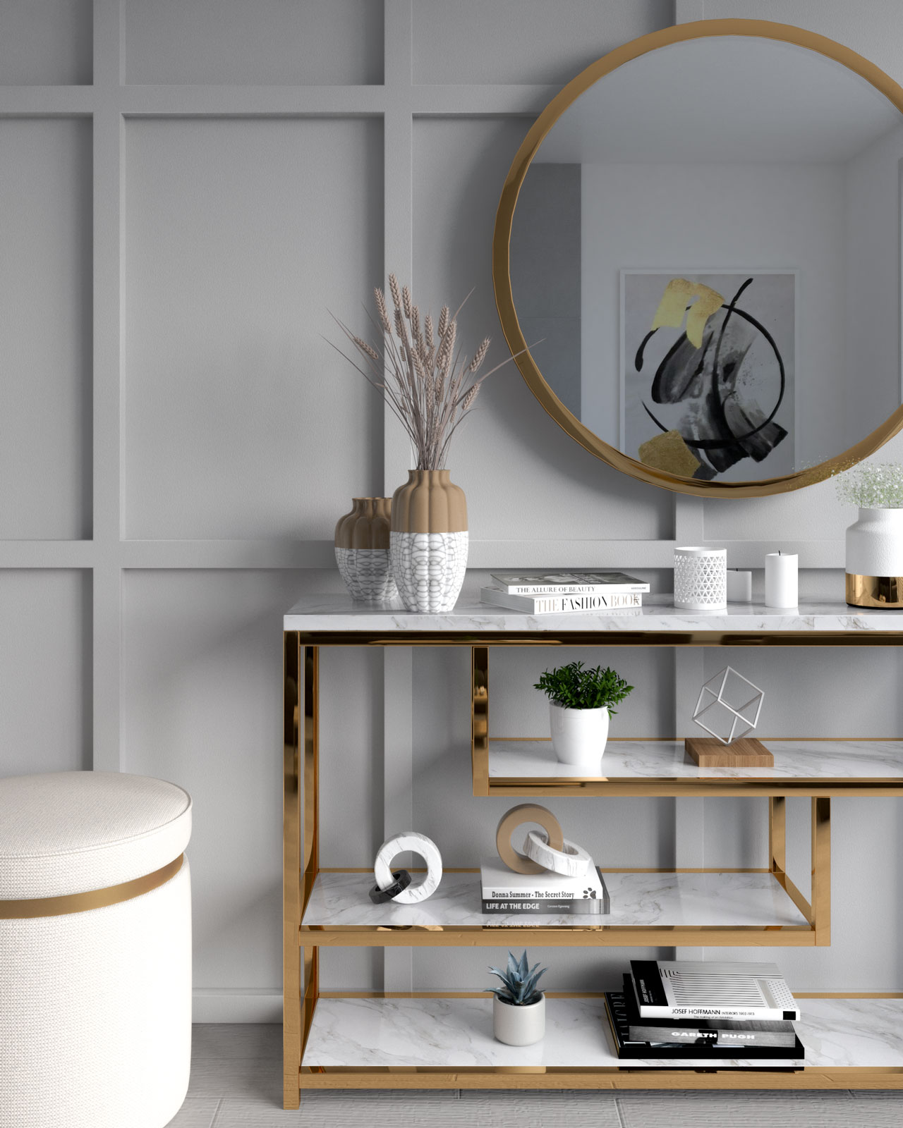 Light gray wall with gold decor
