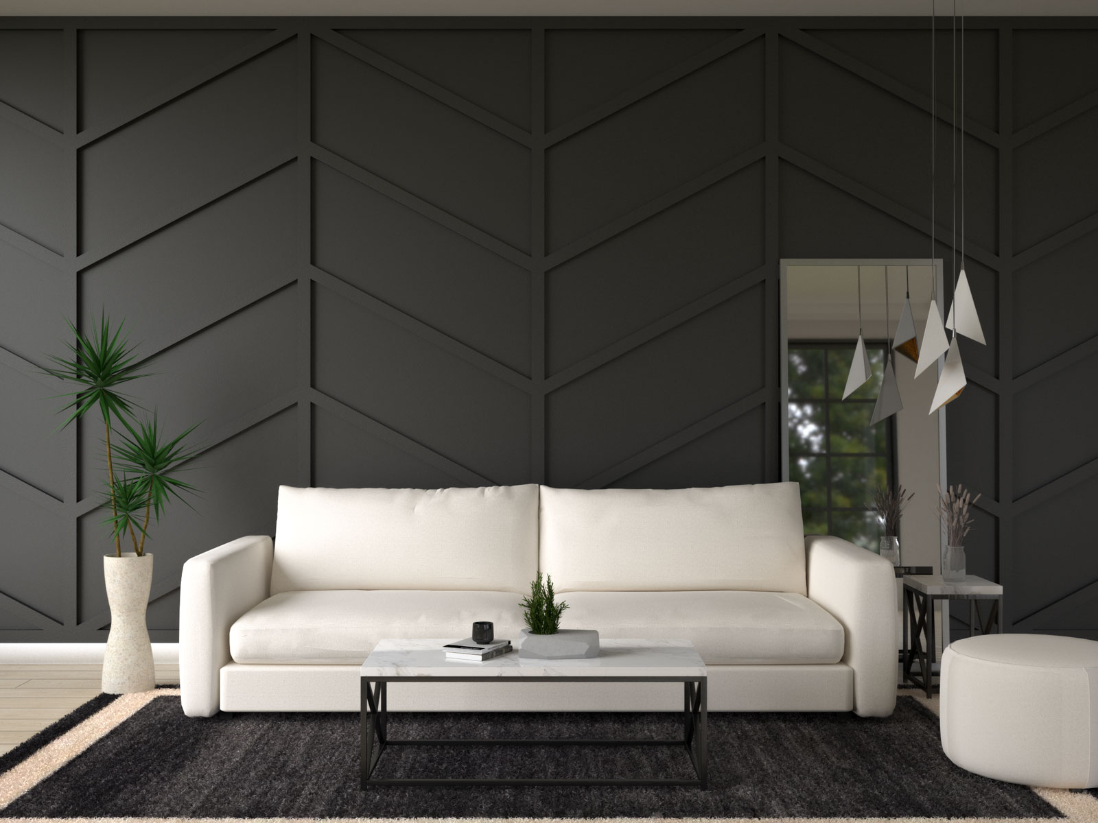 Cream furniture with black accent wall