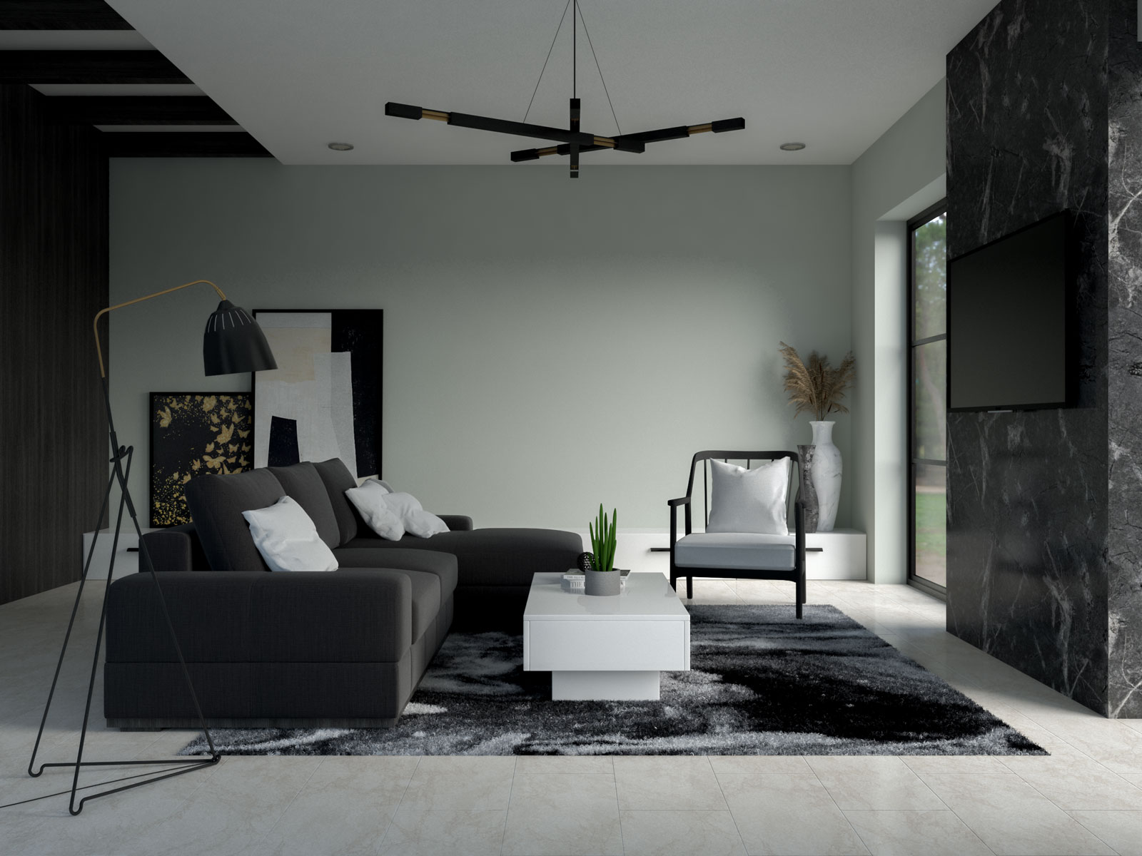 Seasalt green walls with white and black furniture