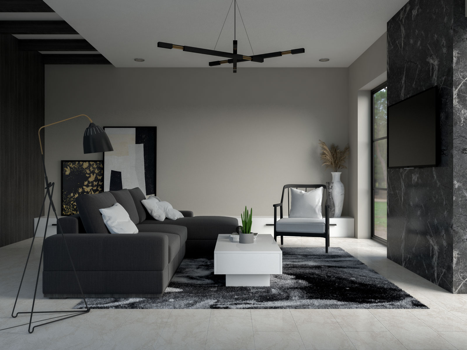 Mindful gray walls with black and white furnishings