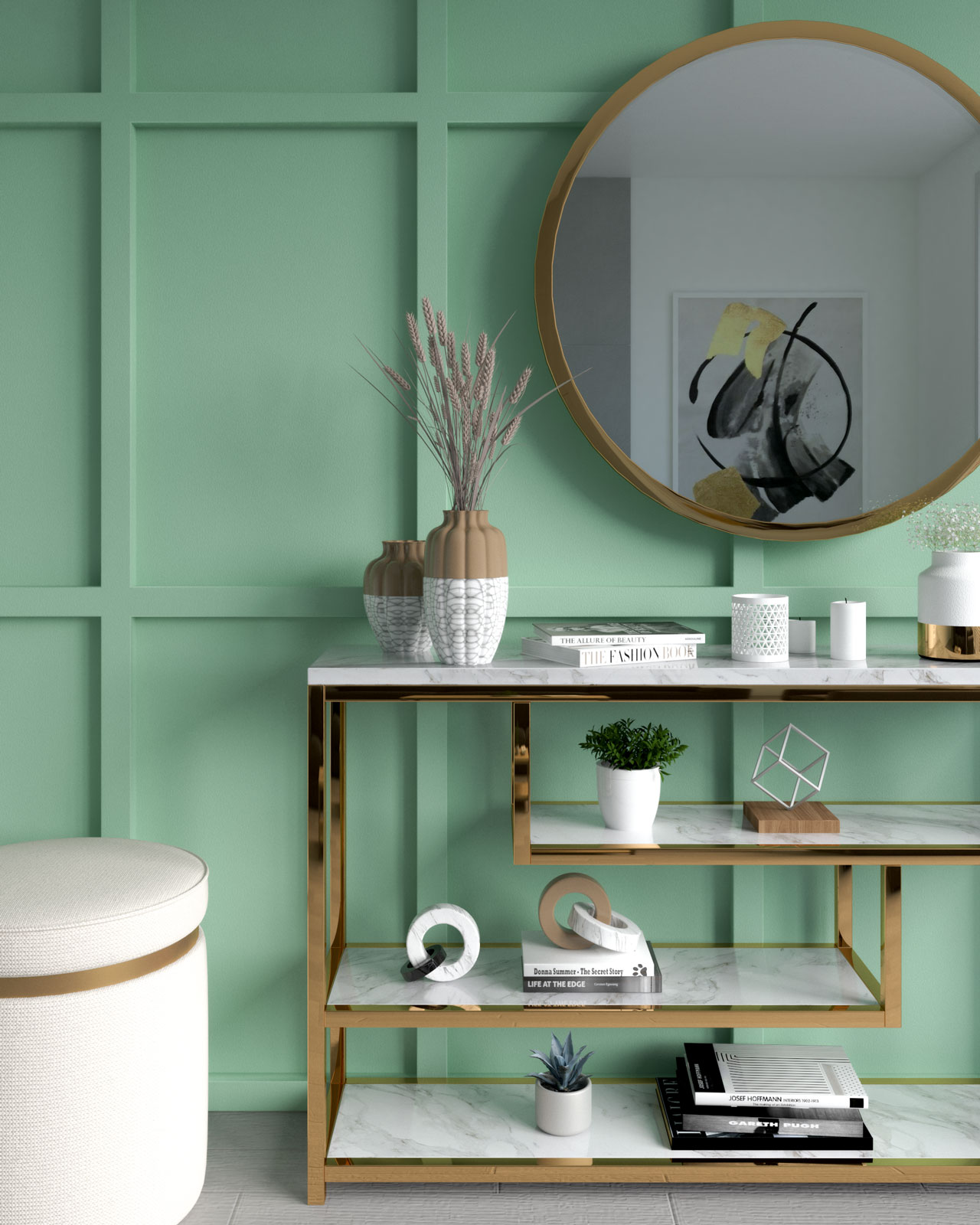 Mint wall with gold accents