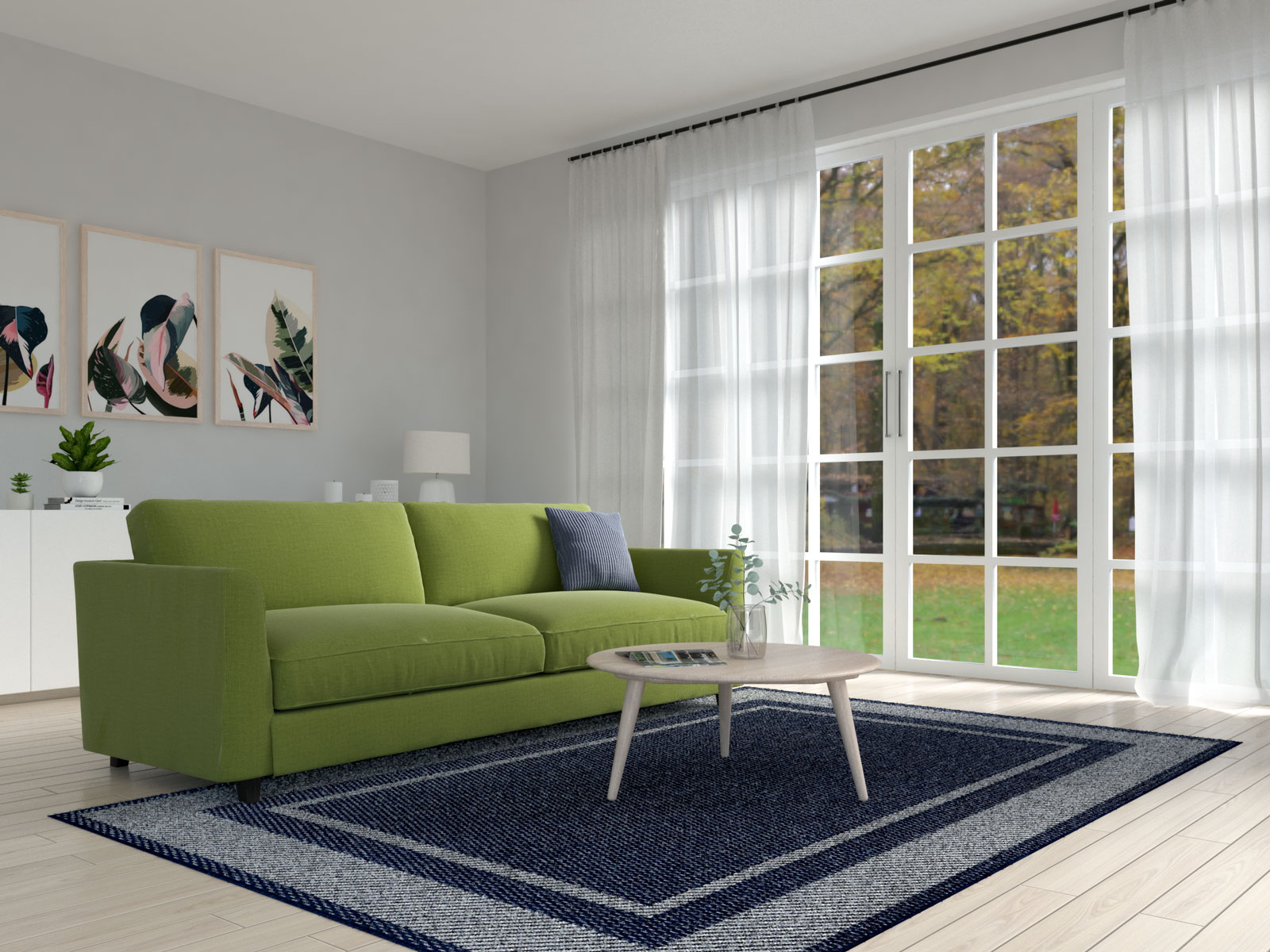 Olive sofa with navy rug