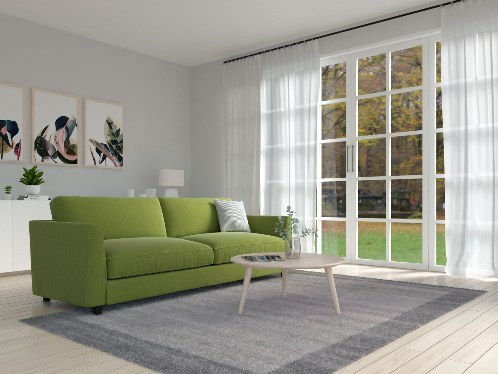 Olive green couch with gray area rug