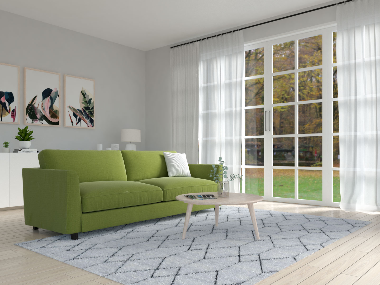 White area rug with olive green sofa