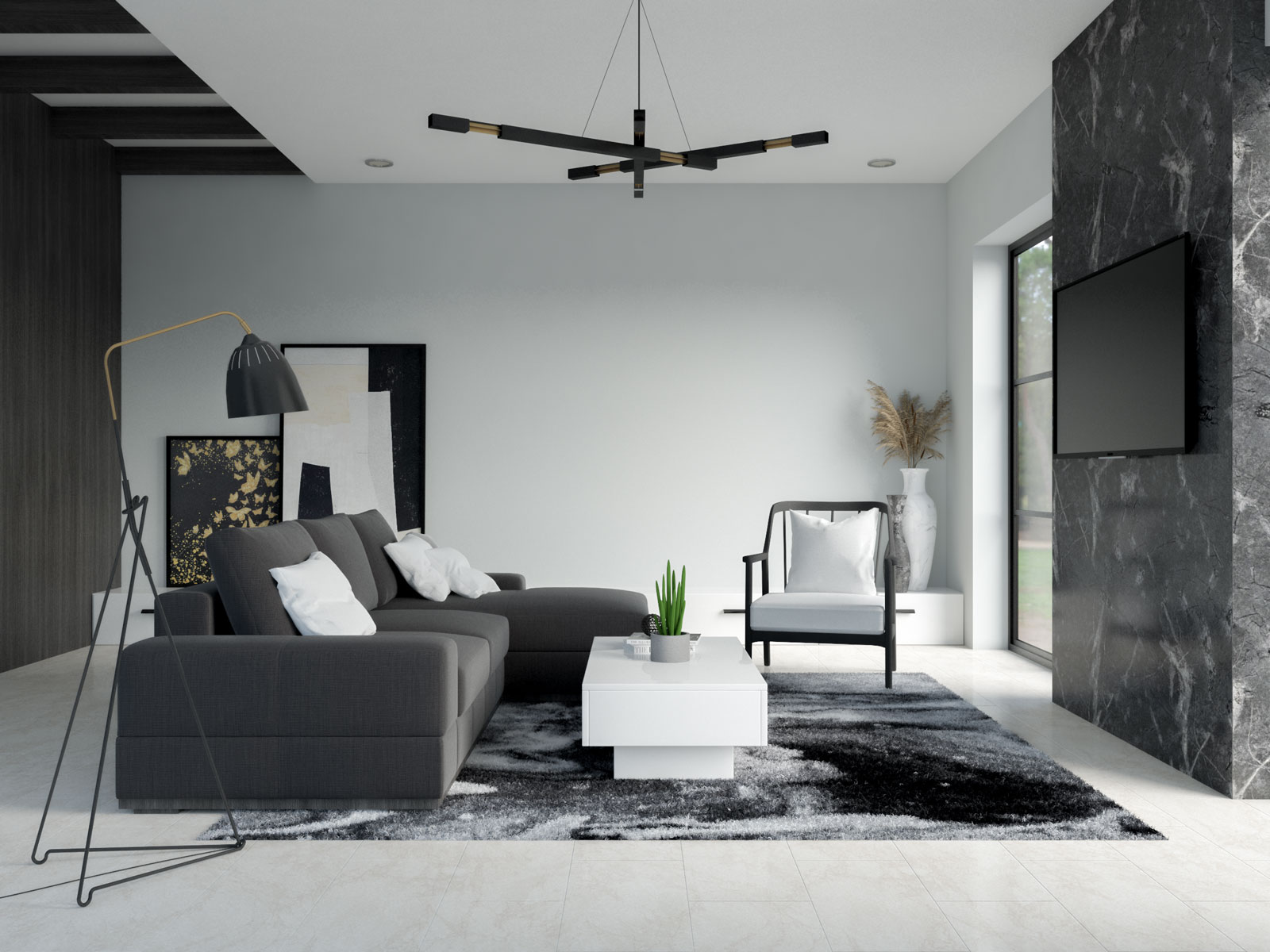 Olympus white walls with black and white furniture