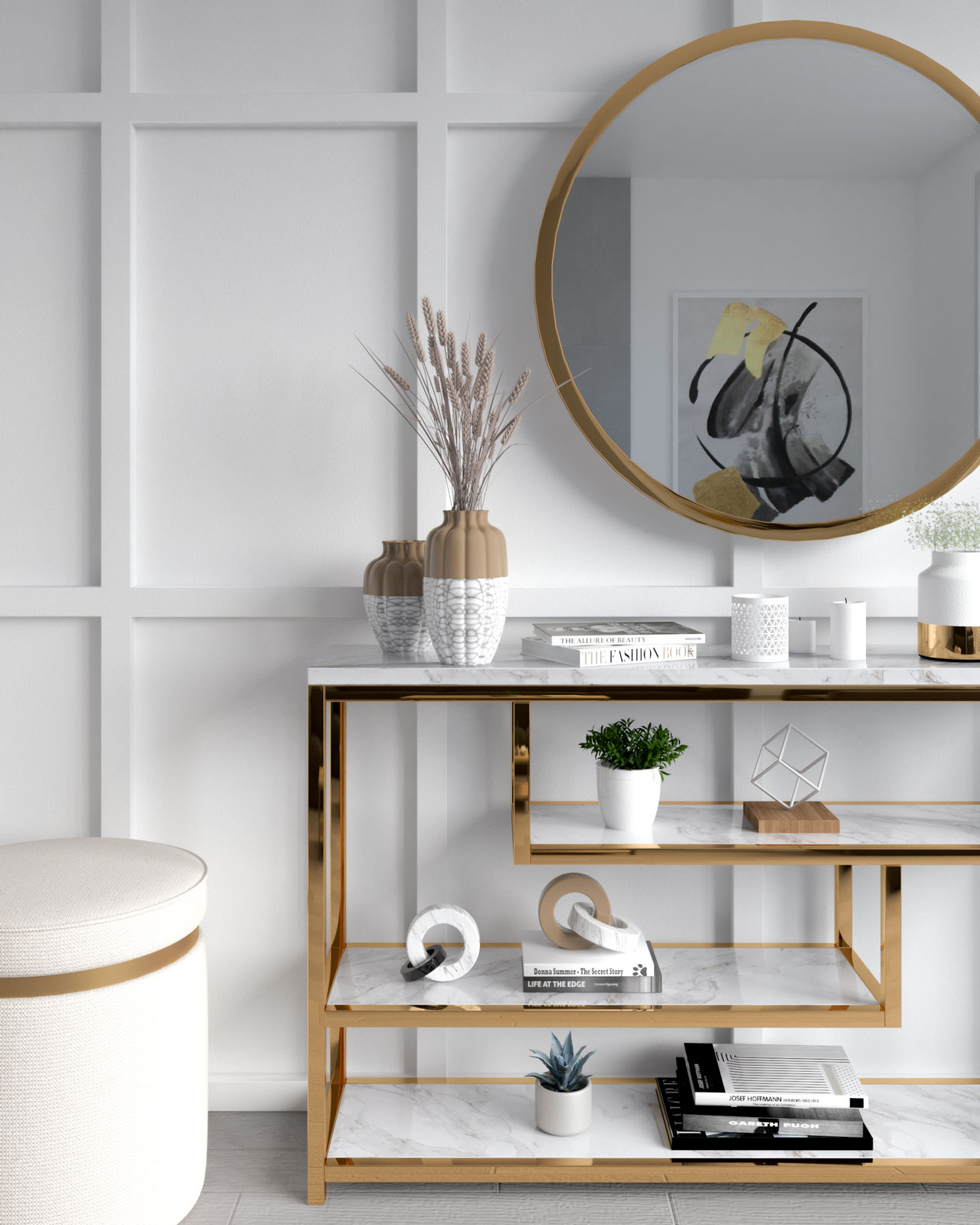 White wall with gold accents