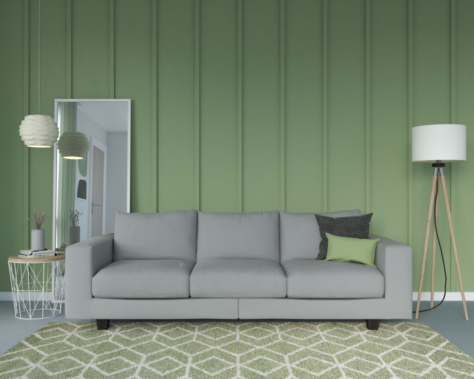 Gray couch with sage wall