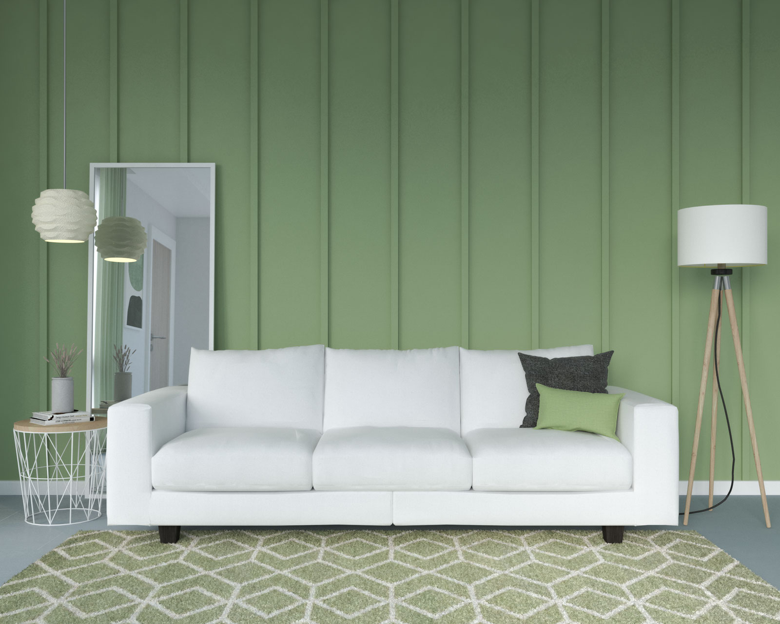 White couch and sage accent wall