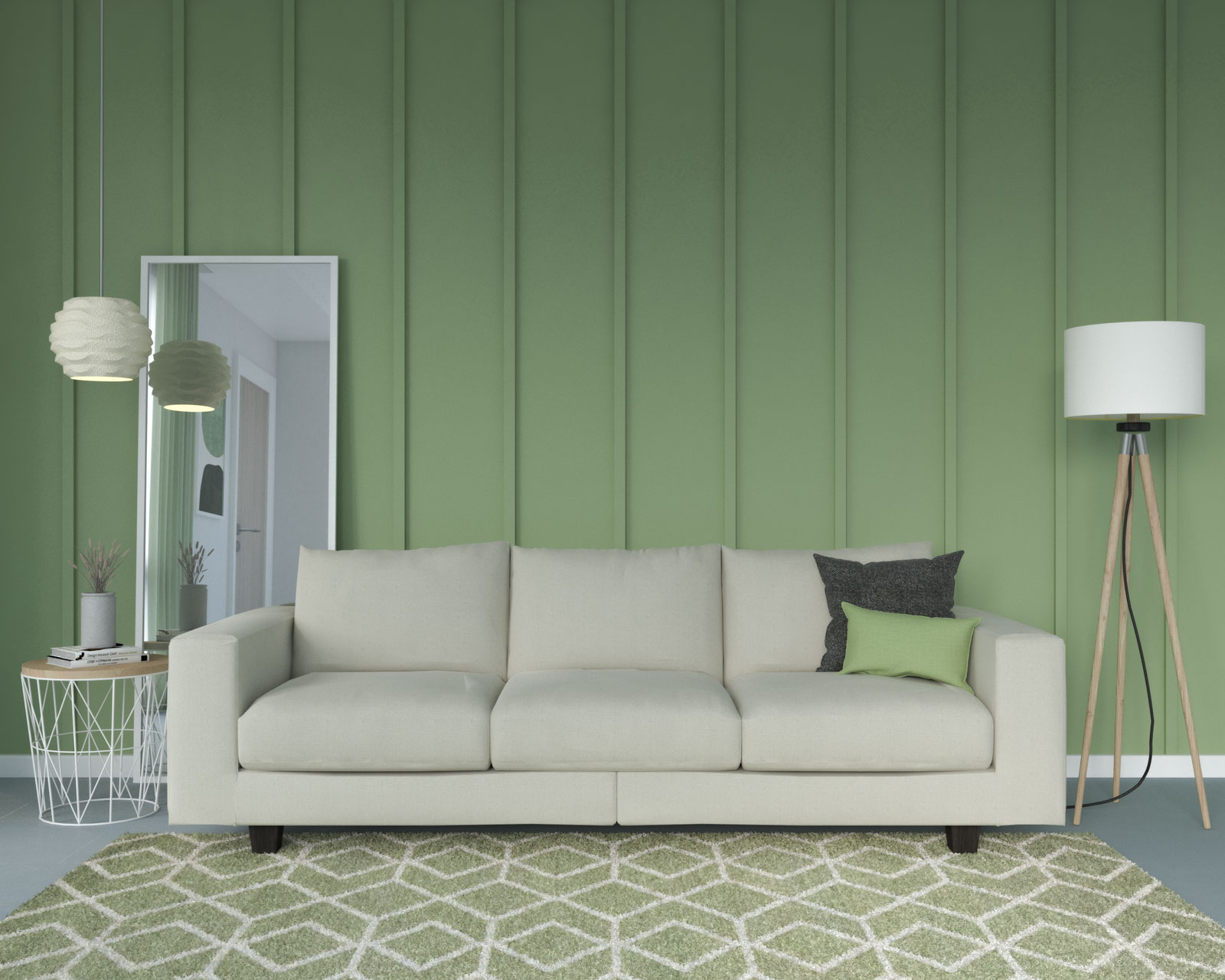 Living room with sage wall and cream couch