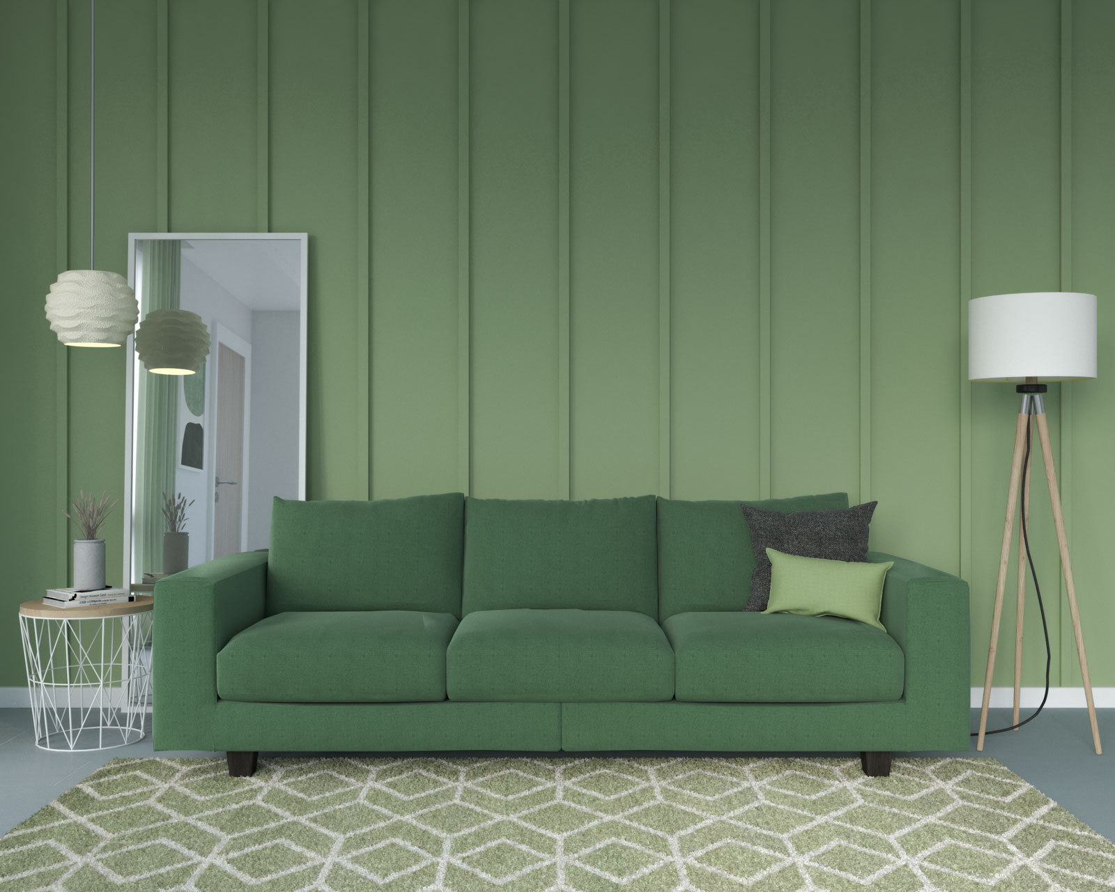 Emerald couch with sage wall