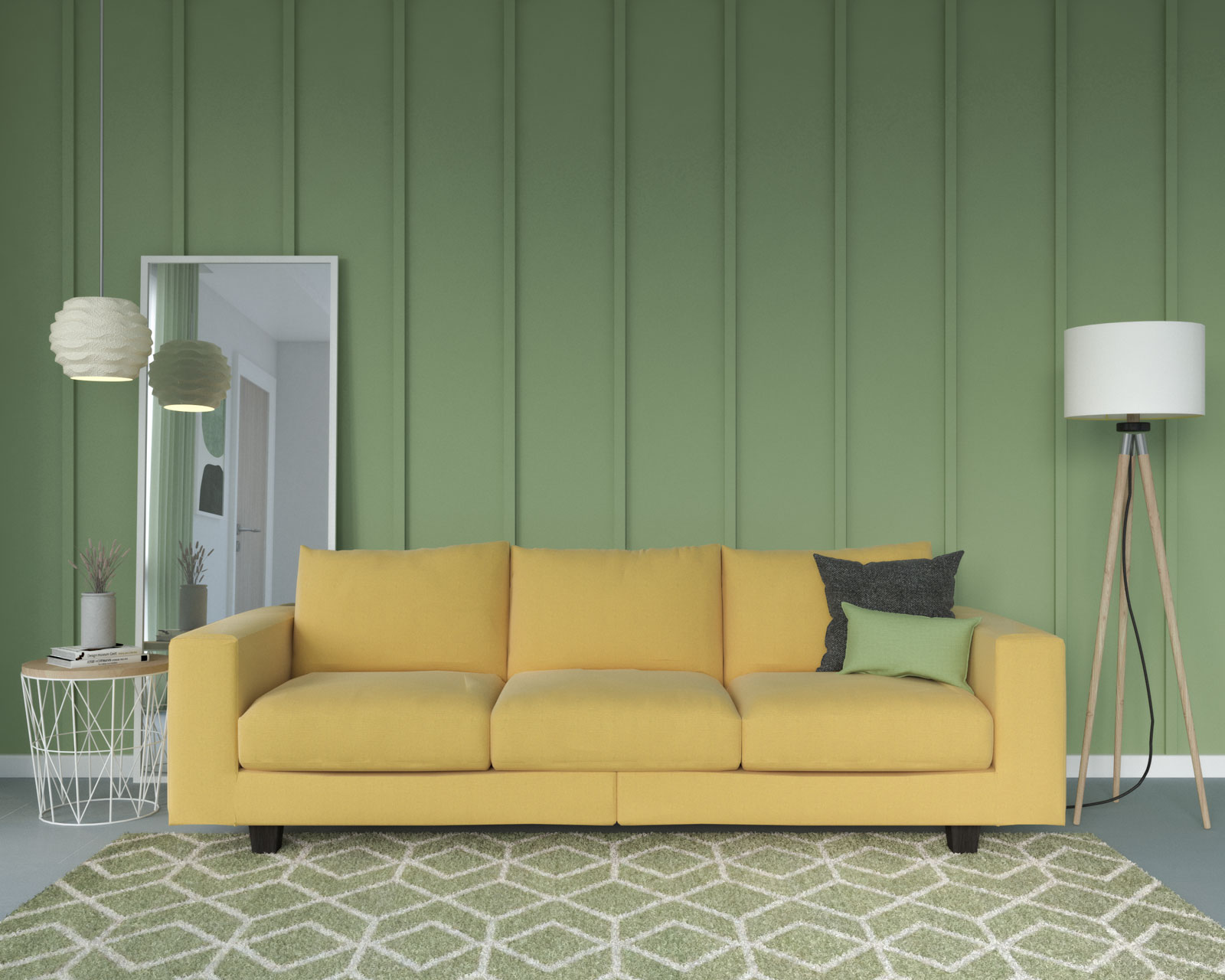 Yellow couch with sage wall