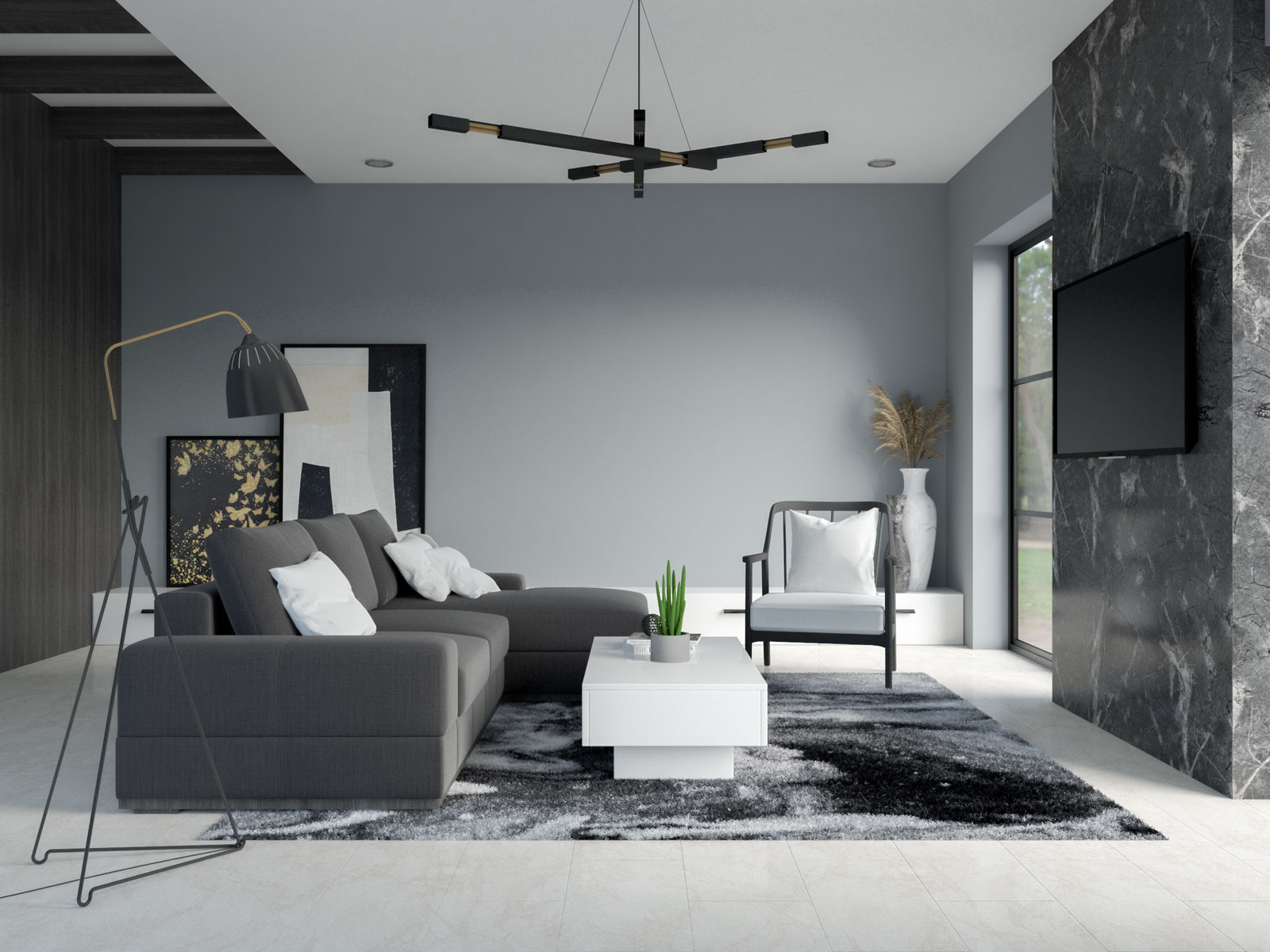 Steely gray walls with black and white furnishings