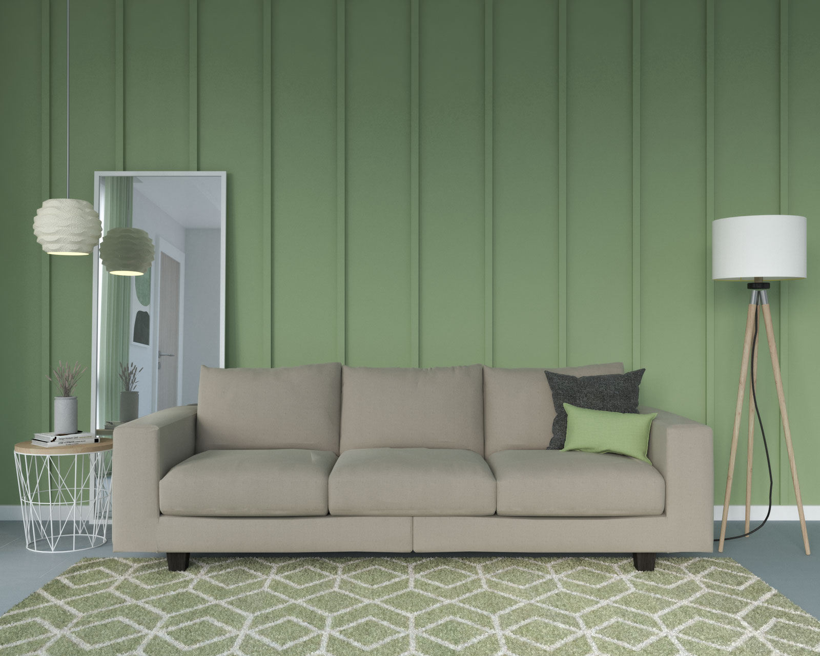 Taupe couch with sage wall