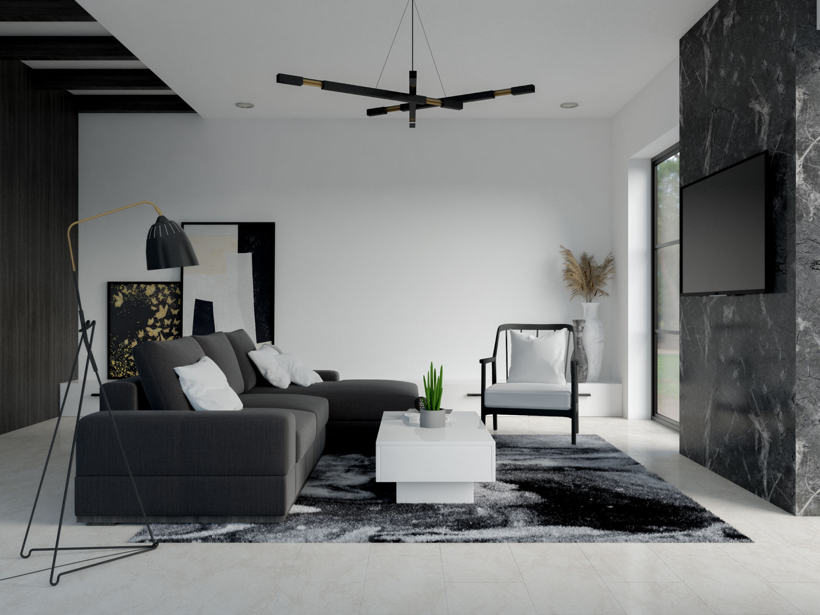 White and black living room ideas