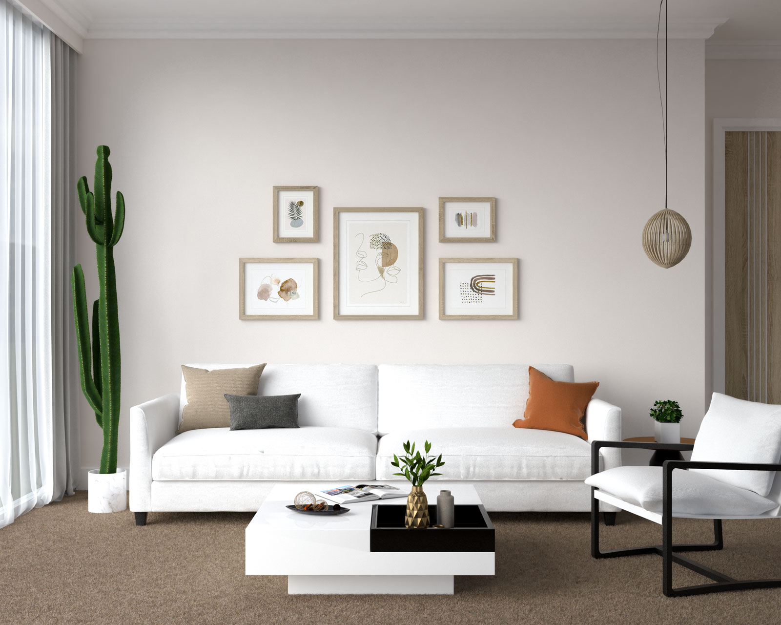 White couch with brown carpet
