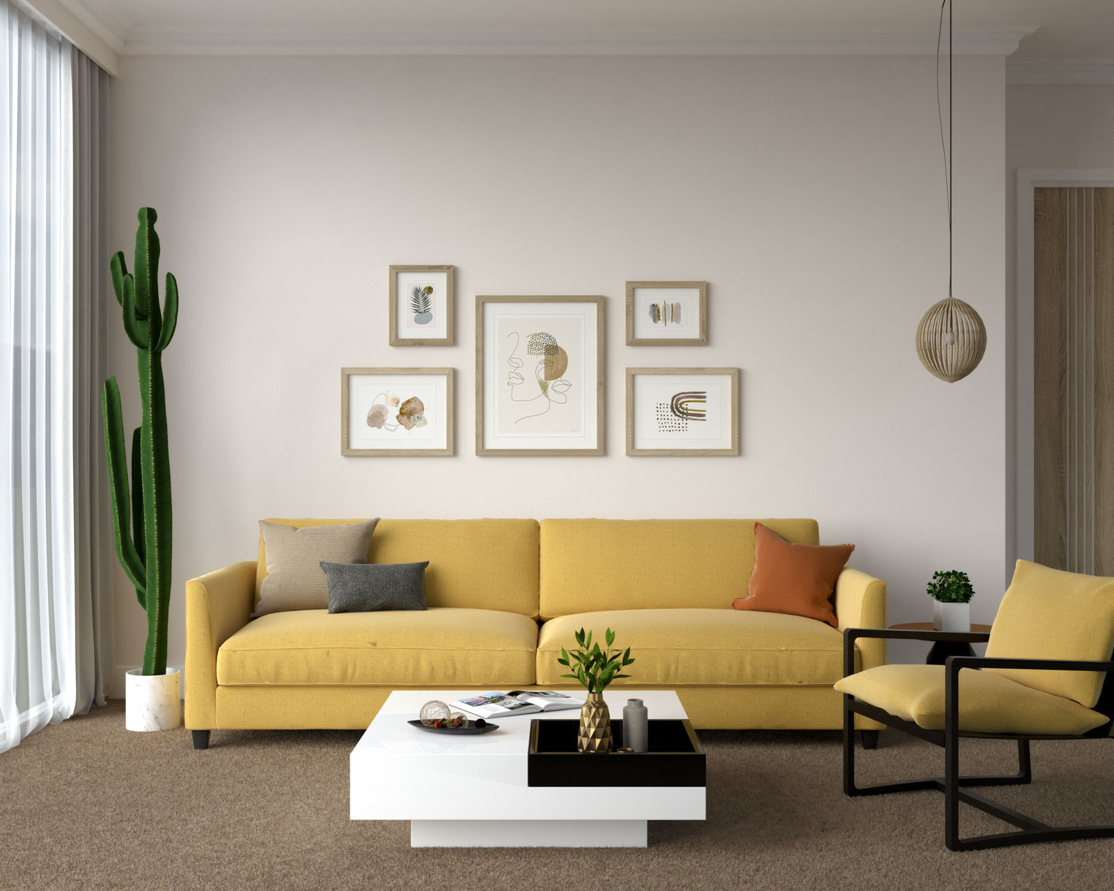 Yellow couch with brown floors